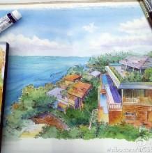 海边别墅建筑景观钢笔水彩画教程图片 带上色步骤 很美的环境