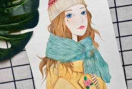 冬季少女水彩画图片教程 带上色步骤演示