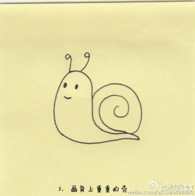 可爱的蜗牛怎么画 简笔画蜗牛的画法 简单的蜗牛卡通画画法