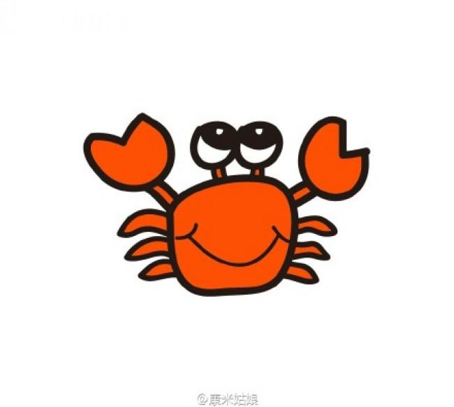 出来。 我们首先来画螃蟹的身体盔甲,一个圆圆的下面有点尖的造型,然后是很有特色的突触来的一对眼睛。  画出嘴巴和身体特征,当然一对大钳子可是厉害的武器,不能忘记哦。这里的签字一只是闭起来,一只是打开的。  螃蟹除了一对大钳子之外还有一些小脚脚哦。最后加一点水草什么的装饰就很形象了。 来源:微博/网络  原作者:@ 图片水印