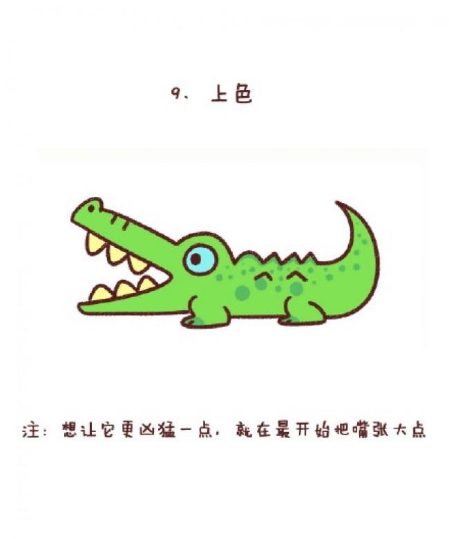 鳄鱼简笔画图片 鳄鱼怎么画简笔画 彩色鳄鱼卡通画 鳄鱼儿童画