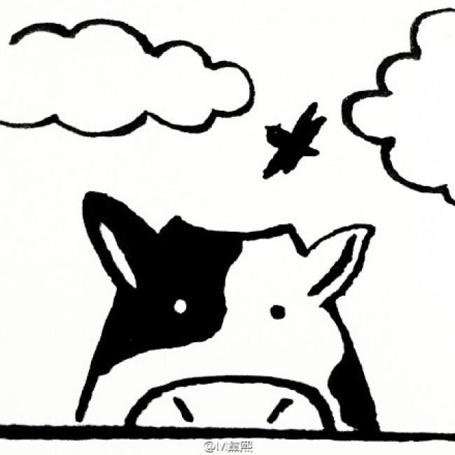 方形卡通奶牛头部简笔画手绘绘画教程