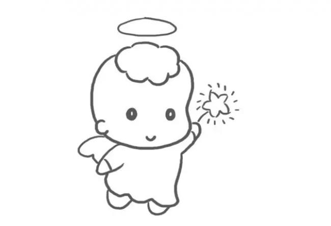快乐的小天使怎么画天使卡通画天使简笔画画法天使绘画教程 2 图片 11P