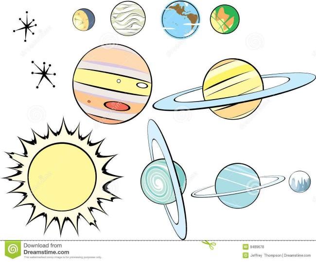 卡通星球怎么画 太阳系简笔画 可爱太阳带星球卡通画画法