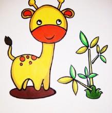 可爱长颈鹿怎么画 长颈鹿简笔画画法 长颈鹿卡通画儿童画手绘教程