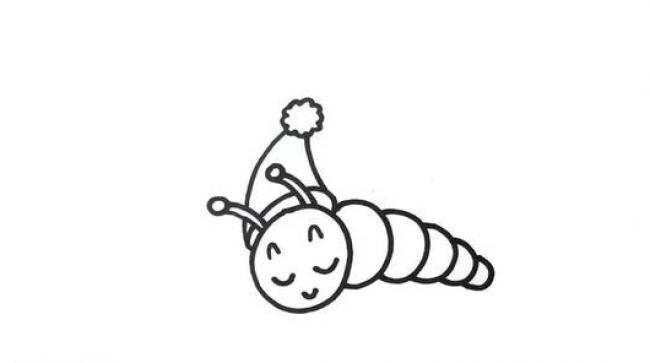 虽然自然世界里的小青虫看起来有点恐怖,但是在动漫卡通世界里小青虫一直都是很可爱的造型存在的。肉嘟嘟的造型十分的讨人喜欢有没有。 来,我们开始画可爱的小青虫吧,首先我们画出小青虫那双无辜的大眼睛,然后画出类似蚂蚁造型的头部,头顶上还有两个小触角。 接下来就是青虫身体的部分了,很多个小圆球组成,注意由于透视的缘故,所以到尾部逐渐变的小了。另外还有小脚脚,身体上也会有一些小斑纹。 最后在小青虫的脚下再花一片树叶,可是口粮啊,树叶还有一个咬了一口的缺口呢。 来源:微博/网络  原作者:@ 图片水印