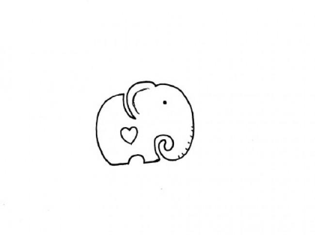 可爱的小象卡通画画法 大象简笔画怎么画 小象儿童画绘画教程图片