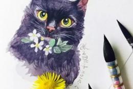 优雅气质黑色猫咪水彩画教程图片 带上色步骤 贵族气质啊