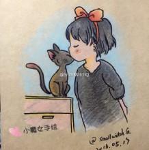 魔女宅急便 小魔女与小黑猫温馨的彩铅画手绘教程图片 步骤很清楚