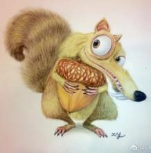 唯美逼真的冰河时代松鼠彩铅画教程图片 抱着松果可爱的斯克莱特
