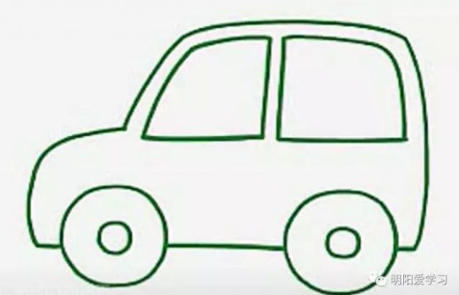 吉普越野车简笔画 简单的吉普儿童卡通画画法手绘教程图解