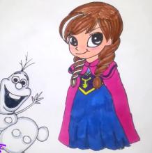 安娜公主怎么画 迪斯尼公主的画法 安娜公主简笔画卡通画儿童画教程