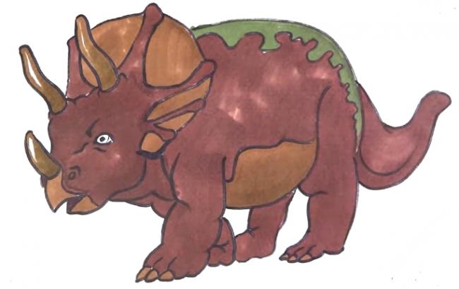 可爱三角龙怎么画 可爱的恐龙卡通画 三角龙空灵简笔画儿童画画法(2)