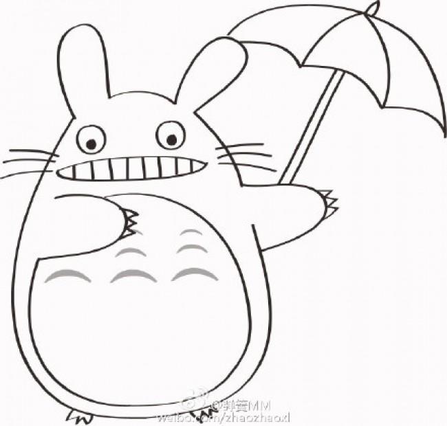 龙猫的简笔画卡通画画法 龙猫儿童画线稿白描上色教程