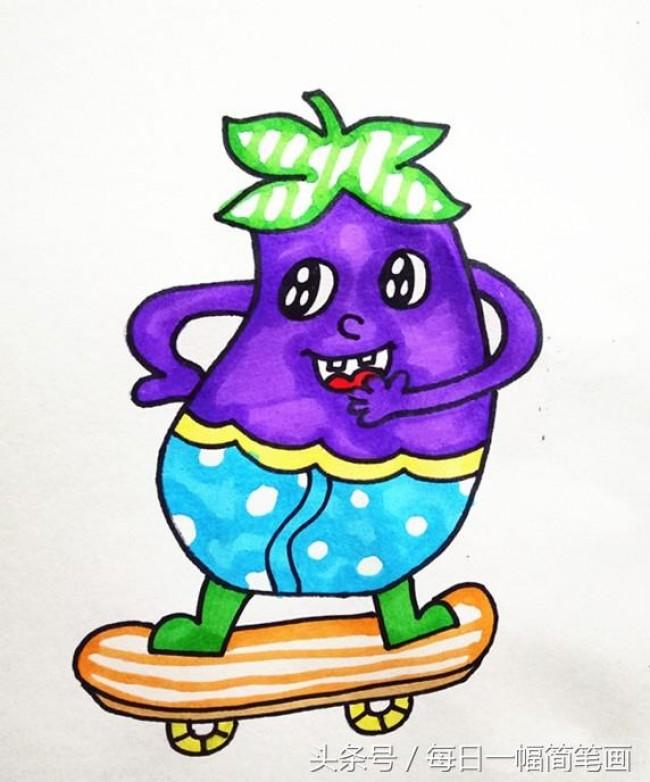 茄子的画法 茄子简笔画 茄子卡通画画法 茄子白描线稿