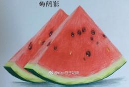 逼真写实的夏天西瓜的彩铅画手绘教程图片 西瓜彩铅怎么画 彩铅西瓜的画法