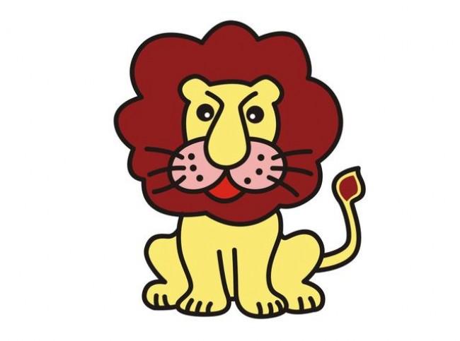 厉害的兽王狮子简笔画画法 可爱又威严的小狮子卡通画