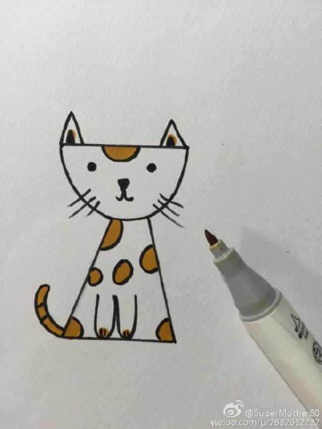 可爱坐姿猫咪卡通画画法 精美小猫咪喵星人手绘儿童简单简笔画教程