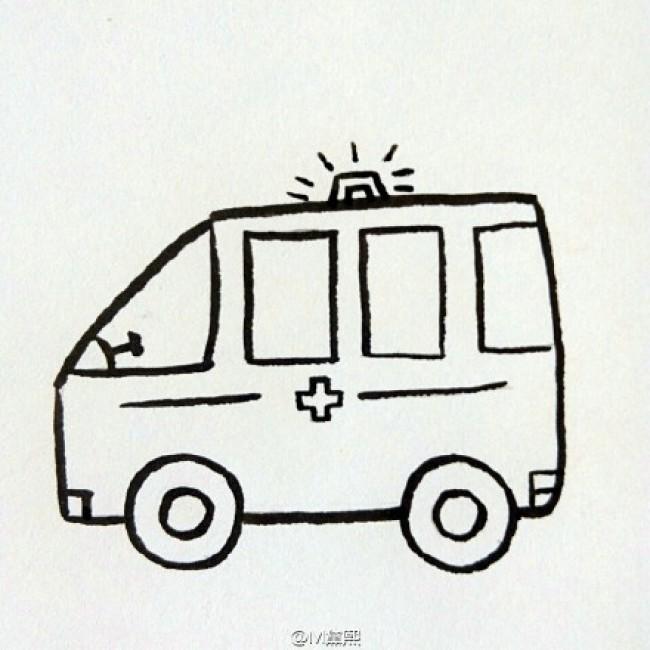 卡通120救护车简笔画卡通画画法 救护车儿童画手绘简易教程 救护车