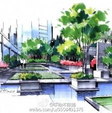 优秀建筑景观马克笔上色作品图片 色称响亮 干净明快