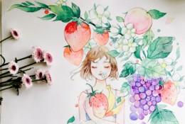 唯美的水果系女生水彩画教程图片带上色步骤 气质女生与水果植物水彩