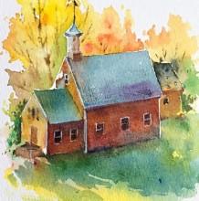 快速用水彩画出一个小房子 一个简单的水彩小房子上色步骤图片