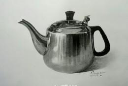 不锈钢水壶素描质感表现教程 素描不锈钢壶怎么画 不锈钢材质的素描画法