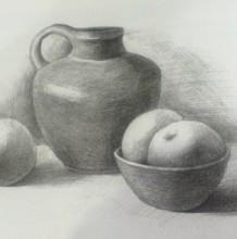 陶瓷罐子与水果组合静物素描的画法 陶瓷质感的画法 比例构图
