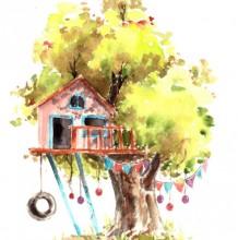 创意水彩树屋作品图片欣赏 盖在树上的小房子创意水彩画