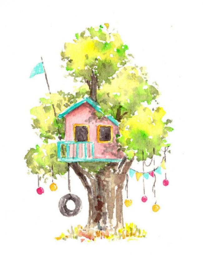 创意水彩树屋作品图片欣赏 盖在树上的小房子创意水彩画_www.youyix.