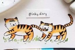 小动物水彩简笔画图片 多个可爱的小动物水彩简笔卡通儿童画图片