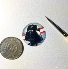 小巧精致又可爱的硬币大小水彩画 可以作为头像哦