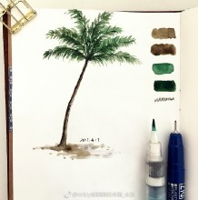 椰子树水彩画教程图片 上色过程步骤演示 椰子树水彩画法