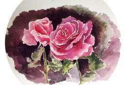 玫瑰花水彩画手绘教程图片 玫瑰花水彩花卉怎么画 玫瑰花水彩的画法