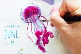 唯美的多彩水母水彩画手绘教程图片 水母水彩怎么画 水母的水彩画画法
