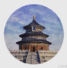 写实风天坛水彩画手绘教程图片 高手作品 古风古韵中国风建筑水彩画
