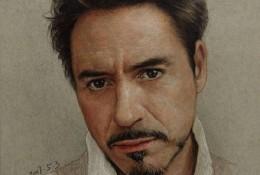 钢铁侠主角 小罗伯特·唐尼彩铅画手绘教程图片 好莱坞明星的彩铅画画法