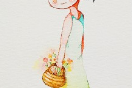 提篮子的可爱小女孩水彩画手绘教程图片全过程带讲解