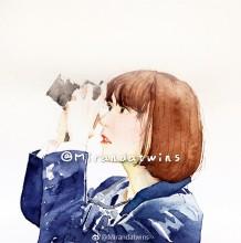 超水灵爱拍照的女孩水彩画手绘教程图片 完美女孩很仙气