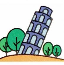 世界知名建筑简笔画教程图片 天安门,比萨斜塔,悉尼歌剧院,埃菲尔铁塔