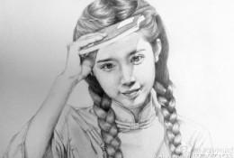 清纯水灵的双马尾古典女孩素描头像手绘画法教程图片