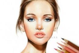 金发碧眼欧洲美女彩铅人像手绘教程图片 Barbie 彩铅人像