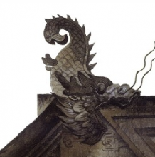 中国传统建筑水彩写实图片素材 细节特写展示 屋檐门头细节