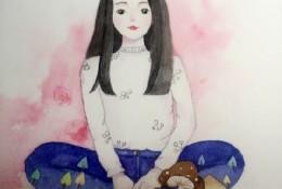 坐着的女生水彩画手绘教程图片 上色步骤演示 清新女生水彩画