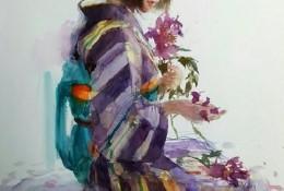 穿日式和服的女人水彩画手绘教程图片 日本女人 日本插画师永山裕子作品