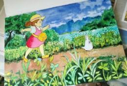 《龙猫》小梅和多多洛水彩画手绘教程图片 开心快乐的小梅和多多洛水彩画