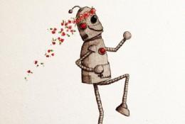 开心快乐的机器人水彩画手绘教程图片 可爱的机器人水彩画画法 怎么画