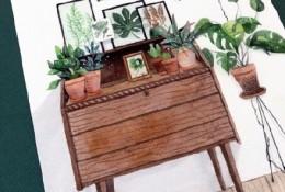 居家一角水彩画手绘图片素材 椅子,沙发,柜子水彩画图片作品