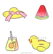 关于夏天主题的简笔画手绘教程图片 饮料,遮阳帽子,西瓜,水上玩具鸭子