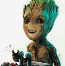 彩铅(油性彩铅)小树妖手绘教程图片 《银河护卫队2》格鲁特宝宝画法 怎么画
